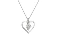 Sterling Silver Diamond 3 Stone Heart Pendant Necklace