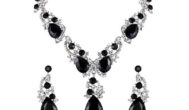 Women's Wedding Bridal Crystal Necklace Dangle Earrings Set