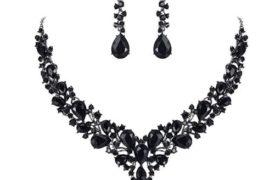 Women's Wedding Bridal Austrian Crystal Necklace Dangle Earrings Set