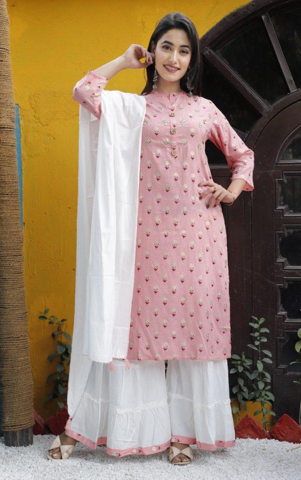Kurti Sharara Set Rayon slub bright pink kurti