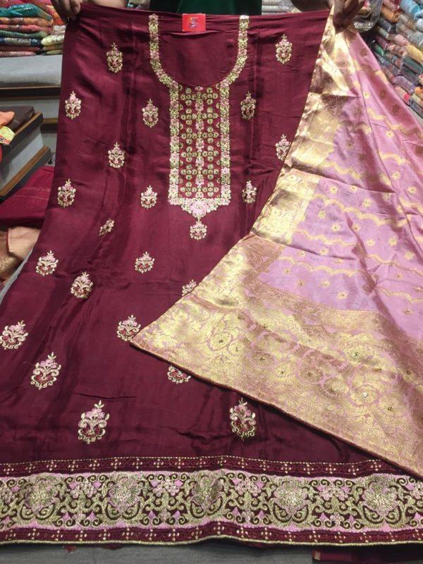 Shirts fabric opada silk with resham zari work