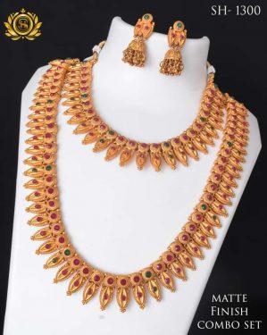Mate Finish Combo Set Colour Stone Necklace