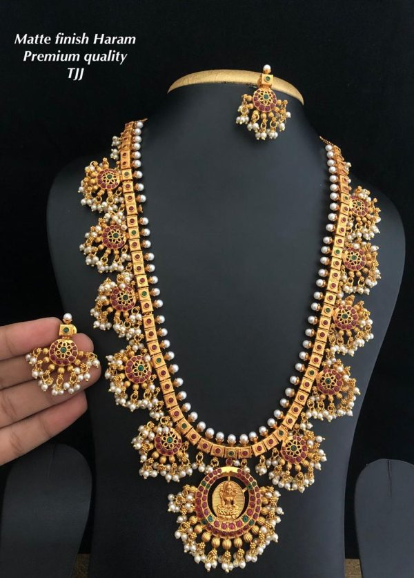 Premium Quality Matte Gold Pearl Long Haram