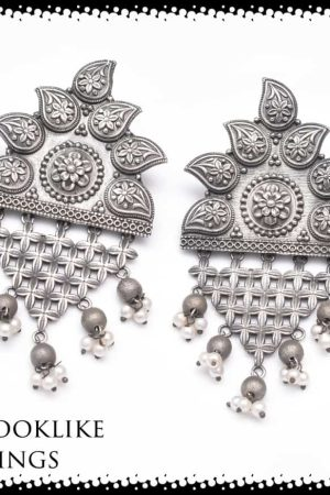 Silver Looklike Stone Earrings SH720
