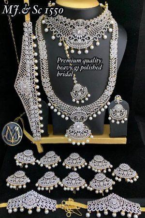 Premium Quality Heavy Plantium Polished Bridal Set For Wedding