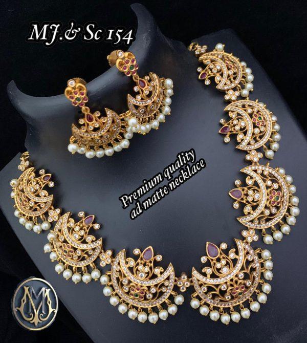 Premium Quality AD White Stone Mate Finish Necklace SC154