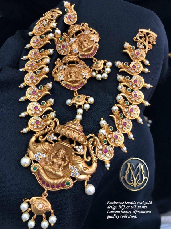 Exclusive Temple Heavy Matte Gold lakshmi jewellery
