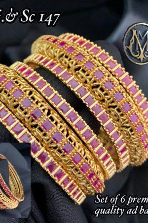 Gold Plated Ruby Emerald Stone Bridal Bangles