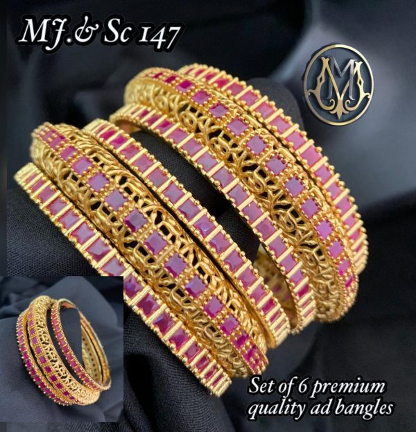 Gold Plated Ruby Emerald Stone Bridal Bangles
