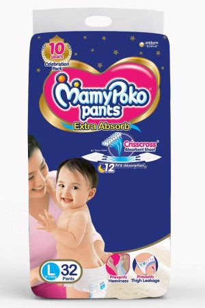 MamyPoko Extra Absorb Diaper Pants, Large