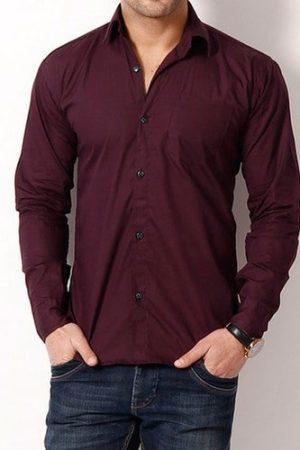 Men's Casual Cotton Plain Shirt