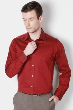 Peter England Men's Formal Long Sleeve Red Shirt