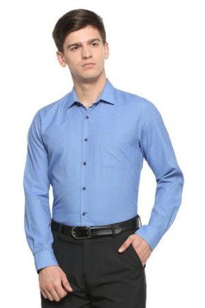 Peter England Plain Blue Men's Formal Shirt