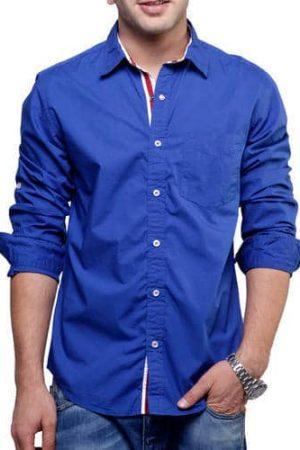 Plain Blue Cotton Men Casual Shirt