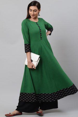 Yash Gallery Women's Cotton Slub Green Anarkali Kurta