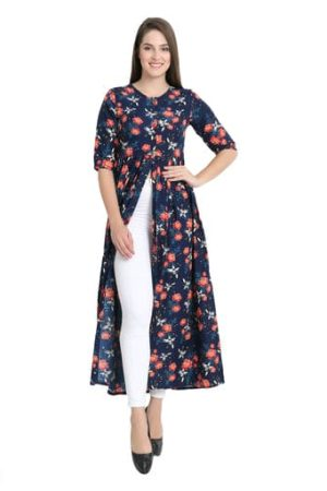 Georgette long kurti with front cut