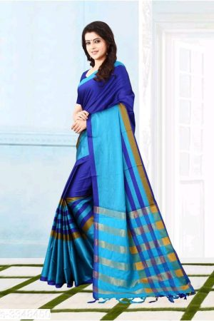 Blue Solid Silk Sarees With Tassels And Latkans