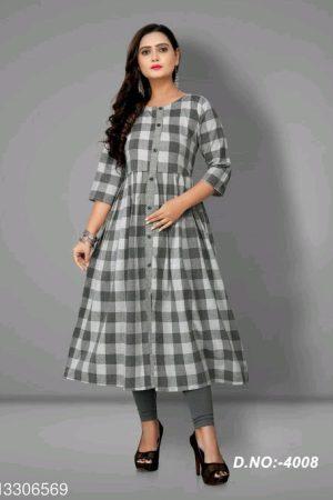 Women Cotton Flared Stripe Kurti