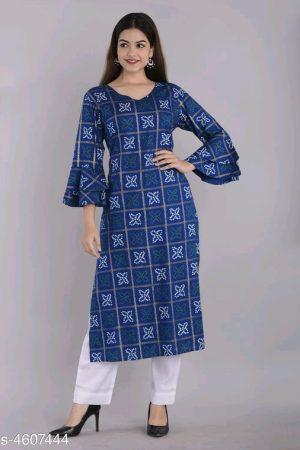 Women Rayon A-line Printed Long Kurti With Pant