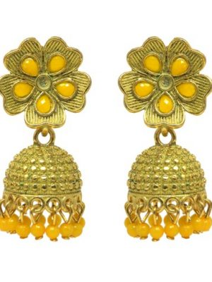 Oxidised Golden Alloy Traditional Jhumka Earrings