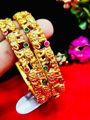 Elephant Symbol Gold Plated Bangle