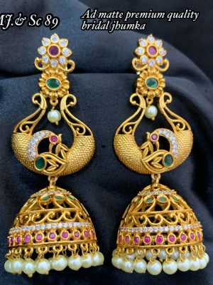 AD Matee Premium Quality Bridal Jhumka Earring MN89