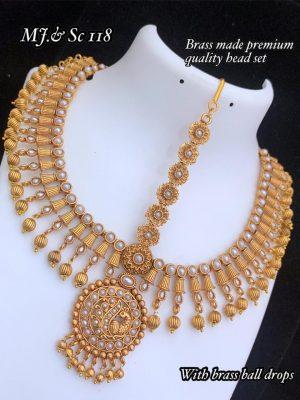 AD Matte Premium Quality Bridal Head Beads Set MN118