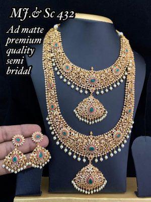 AD Matte Premium Quality Semi Bridal Set MN432A