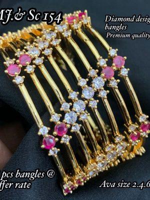 AD Stone Diamond Design Bangles Set MN154 (2)