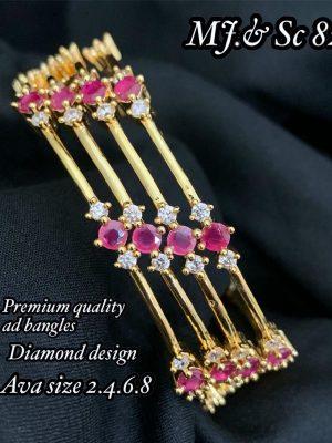 AD Stone Diamond Design Gold Finish Bangles Set MN82 (2)