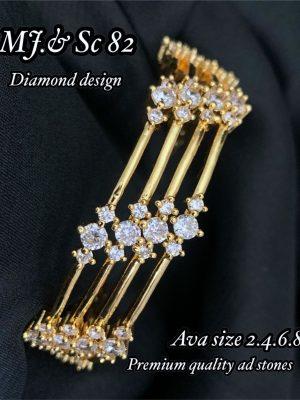 AD Stone Diamond Design Gold Finish Bangles Set MN82 (3)