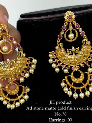 AD Stone Matte Gold Finish Earrings MN33 (1)