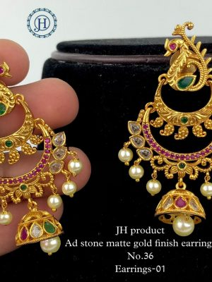 AD Stone Matte Gold Finish Earrings MN33 (4)