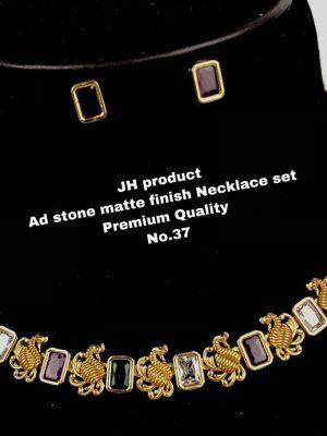 CZ AD Stone Gold Finish Necklace Set MN37 (1)