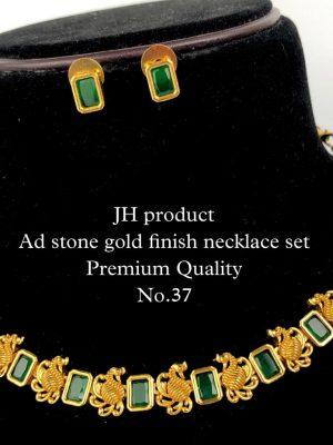 CZ AD Stone Gold Finish Necklace Set MN37 (2)
