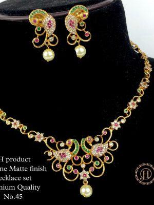 CZ AD Stone Gold Finish Necklace Set MN45 (1)