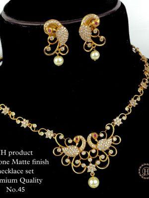 CZ AD Stone Gold Finish Necklace Set MN45 (3)