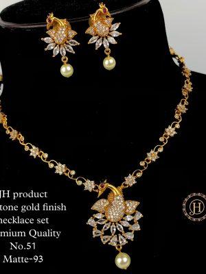 CZ AD Stone Gold Finish Necklace Set MN51 (2)