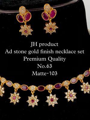 CZ AD Stone Gold Finish Necklace Set MN63 (2)