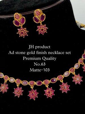 CZ AD Stone Gold Finish Necklace Set MN63 (5)