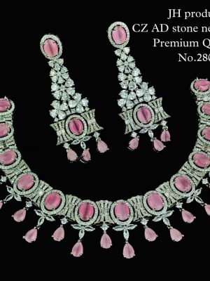 CZ AD Stone Necklace with Bangles Set MN280 (1)