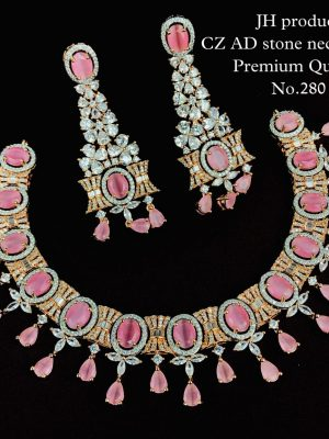 CZ AD Stone Necklace with Bangles Set MN280 (2)