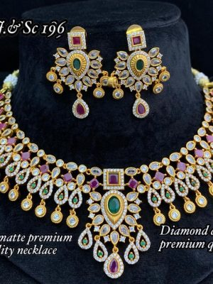 Diamond Design Premium Quality AD Matte Necklace (1)