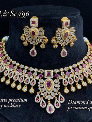 Diamond Design Premium Quality AD Matte Necklace (2)
