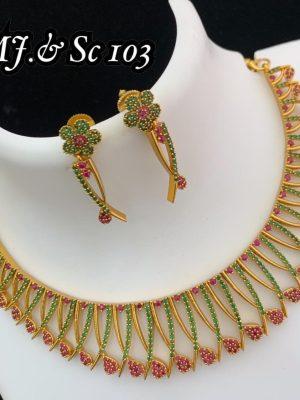 Diamond Design Premium Quality AD Matte Necklace MN103 (1)