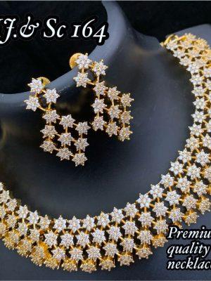 Diamond Design Premium Quality AD Matte Necklace MN164
