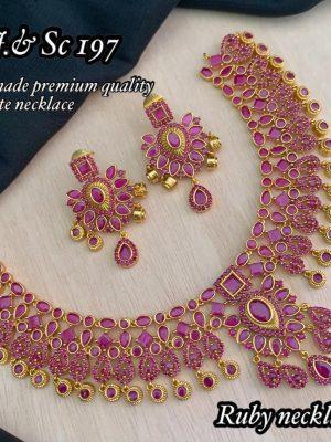 Diamond Design Premium Quality AD Matte Necklace MN197 (1)