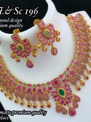Diamond Design Premium Quality AD Matte Necklace MN197 (2)