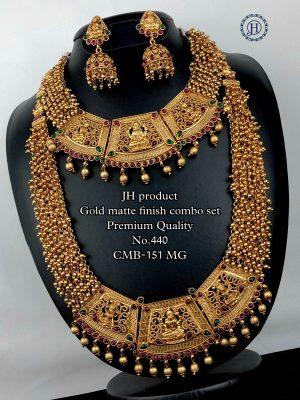 Gold Matte Finish Premium Quality Bridal Combo Set MN440