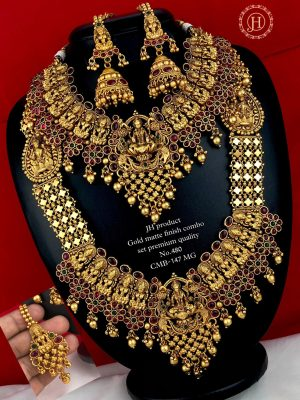 Gold Matte Finish Premium Quality Bridal Combo Set MN480 (2)